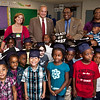 New Haven Mayor John DeStaefano  and the Superintendent of Schools, Dr. Reginald Mayo visit Jennifer Treubig's  kindergarten at Clarence Rogers during a special event on the first day of classes to encourage students to go to college.