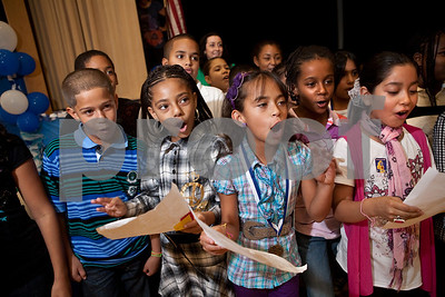 Clinton Ave. fourth-graders perform a special CMT-rap song during a rally to honor students who performed well on the CMTs last year.