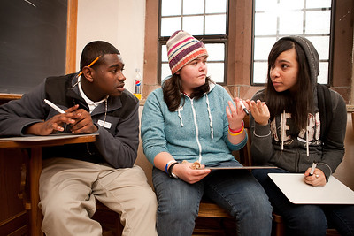 Coop students Chaevon Samuel, Taylor Mansfield and Samantha Ortiz  take part in the STEM program, Prove It at Yale in November, 2010.