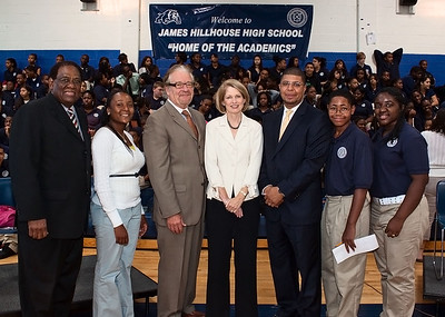 The Superintendent poses with Xaviera Jackson of Hillhouse, Jack Healy of the United Way, Marna Borgstrom of YNHH, Principal Kermit Carolina of Hillhouse, and Malcolm Jeffersona nd Brittany Palmer of Hillhouse.