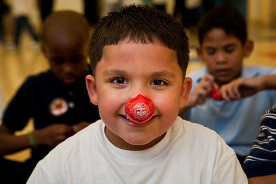 Victor Rolon of Martinez School gets ready for a lesson in clown fitness.