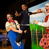 Martinez student Deandre Kerr gets some lessons in clowning around Ringling Brothers clown Chris and Gigi Allison.