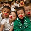 ian Garcia, Joclyn Lopez, Jose Roque and Allen Kripps of Martinez School get ready for a lesson in clown fitness.