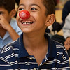 A Martinez School student enjoys a lesson in clown fitness.