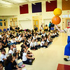 Chris Allison of Ringling Brothers entertains students at John Martinez in New Haven.