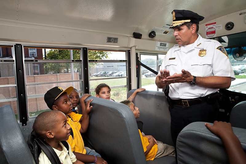 New Haven Police Chief Frank Limon speaks to students at Roberto Clemente about Bus Safety Thursday.