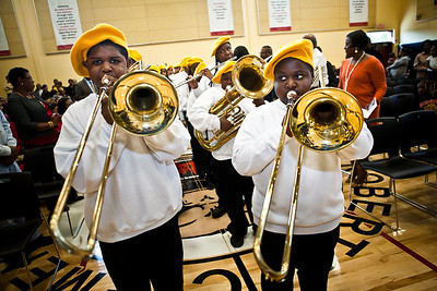 The school band performs during the Dedication Ceremony for the new Clemente School.