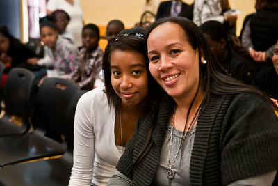 Seventh-grader Marlisa Shaw and her Mom, Damaris Ortiz attend the Dedication Ceremony for the new Clemente School.