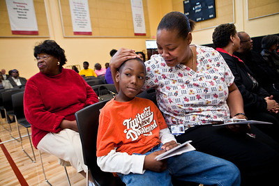 Tanya Gandy and he son, Kinard Fuler (3rd gr) attend the Dedication Ceremony for the new Clemente School.