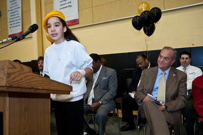 Eighth-grader Mairead Brennan speaks during the Dedication Ceremony for the new Clemente School.