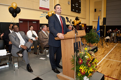 New haven State Rep Juan Candelaria speaks during the Dedication Ceremony for the new Clemente School.