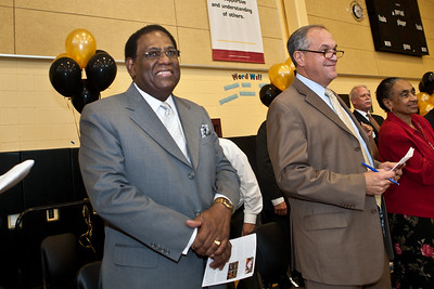 The Superintendent and the Mayor attend the Dedication Ceremony for the new Clemente School.
