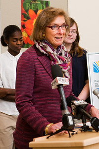 Patricia Sweet of Achive First speaks during a press conference at MBA to announce a 3 million dollar donation from First Niagra.