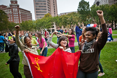 Wilbur Cross Seniors Elisha Brown, Adriana Roberts and Fontaine Chambers take part in a Flash Mob on the Green Thursday.