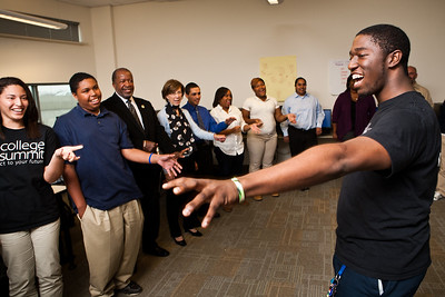MBA senior Eric Daniels leads an excercise during a special  class to help students get ready for college.