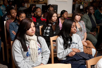 Hillhouse students listen during a special event to honor Rosa Parks.