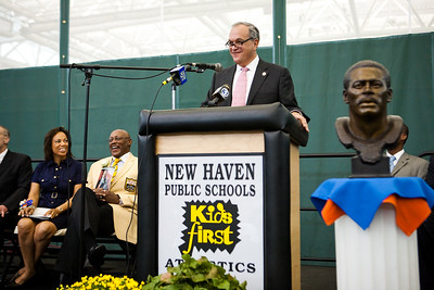 The Mayor speaks at the dedication of the new Floyd Little Athletic Center in New Haven.