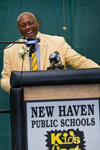 Floyd Little speaks at the dedication of the new Floyd Little Athletic Center in new haven