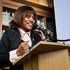 Hillhouse student Shaylah McQueen reads one of her poems during a special event at Hillhouse to honor the 56th anniversary of Rosa Parks refusal to give up her seat.