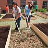 Clinton Ave juniors Shaisha Ortiz and Erinn Hines hels put in garden beds at the school over the summer.