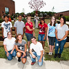 Sound School students help install garden beds at Clinton Ave over the summer.