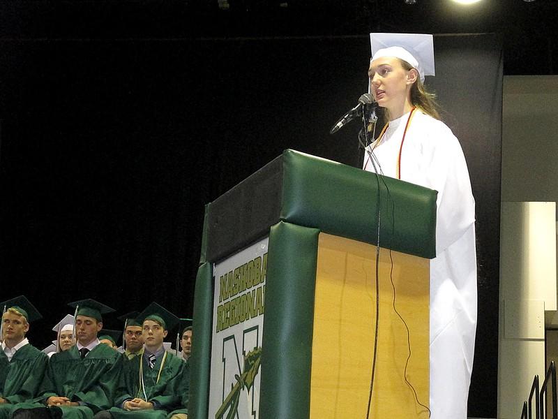 Valedictorian Hannah Stevenson addresses her fellow Nashoba Regional High School graduates Sunday.<br /> SENTINEL AND ENTERPRISE/JULIA SARCINELLI