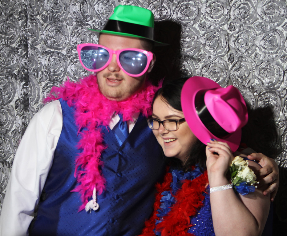 . Nashoba Tech prom. Nate Martin of Westford and Kristi Albert of Pepperell, in the photo booth. (SUN/Julia Malakie)