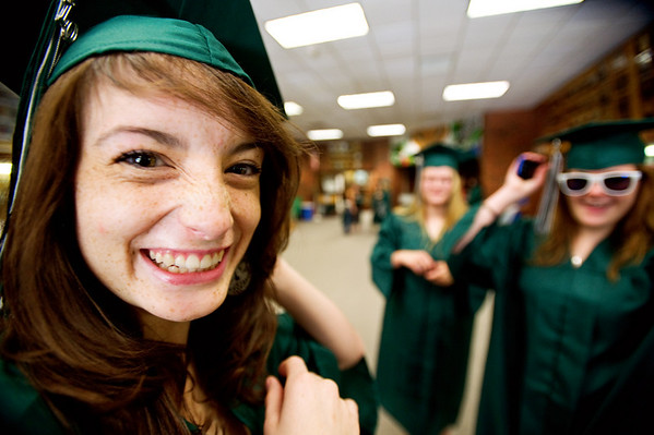N0529NIWOT02.jpg N0530NIWOT02<br /> Niwot graduate Kirsten Nelson and her friends Vanessa Slepicka and Amanda Vanstone get ready before the beginning of the Niwot commencement ceremony on Saturday morning, May 29th, 2010.<br /> <br /> Photo by: Jonathan Castner