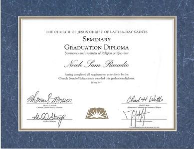 Noah HS and Seminary Diplomas