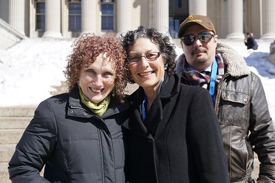 Noreen Connolly with fellow journalism teachers outside of the Low Library at Columbia University.