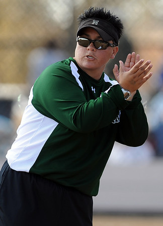 April Martinez, Niwot softball coach, during a 4A state playoff game against Evergreen.<br /> Cliff Grassmick / October 23, 2009