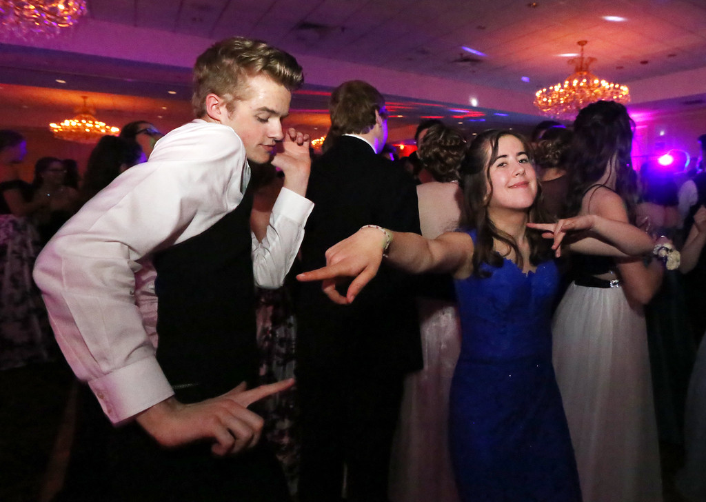 . North Middlesex Regional High School prom at Radisson Nashua. Joseph Thompson of Pepperell and Kayla McFadden of Townsend. (SUN/Julia Malakie)