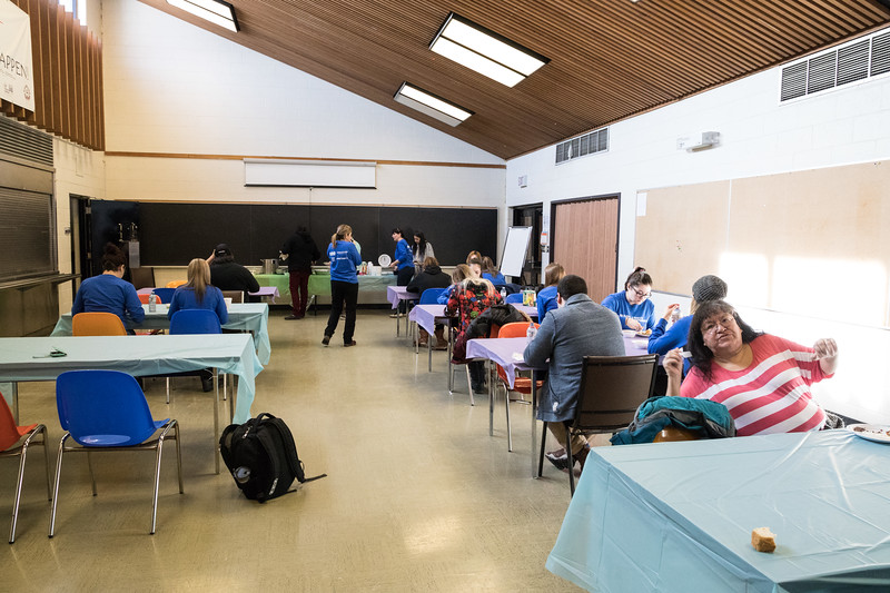 Feast at Northern College prepared by elder Rachel Chakasim and others for visiting nursing students from the South Porcupine Campus.