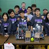 Cushing Academy robotics team pose for a picture their win during the May 19, 2016 VEX Robotics competition at Oakmont Regional High School in Ashburnham. From left is Freshman Peter Wang, sophomore Gemie Kang, junior Robin Yang, sophomore Ethan Qiu, sophomore Jacky Wang, coach Jamie Leger, senior Win Worakunthada, sophomore Kevin Liao, sophomore Tom Wu, coach Bill Marks and sophomore Luna Wang. SENTIENL & ENTERPRISE/JOHN LOVE
