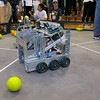 One of the robots in the ring during the May 19, 2016 VEX Robotics competition at Oakmont Regional High School in Ashburnham. SENTIENL & ENTERPRISE/JOHN LOVE