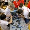 Oakmont Regional  High School robotics team work to fix one of their robots during the May 19, 2016 VEX Robotics competition at Oakmont Regional High School in Ashburnham. SENTIENL & ENTERPRISE/JOHN LOVE