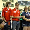 North Middlesex Regional High School robtics team members Jake Robbins, Jacob Szczypinski and Jenny Pimm compete with their robot during the May 19, 2016 VEX Robotics competition at Oakmont Regional High School in Ashburnham. SENTIENL & ENTERPRISE/JOHN LOVE