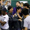 Gardner High School and Cushing Academy robotics team cheer after they found they won the May 19, 2016 VEX Robotics competition at Oakmont Regional High School in Ashburnham. SENTIENL & ENTERPRISE/JOHN LOVE