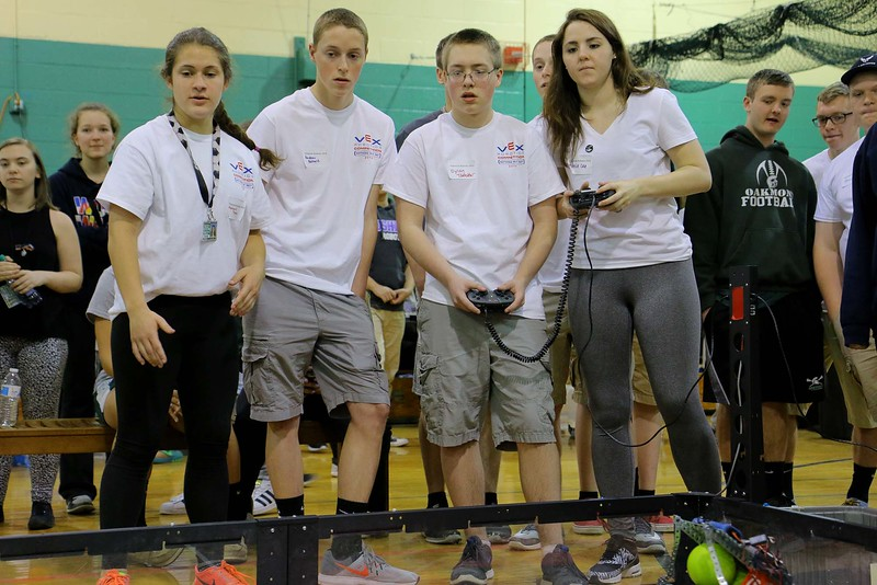Oakmont Regional High School robtics team members, from left, Abby Tata, Andrew Bernard, Dylan Toothaker and Kenzie Cole compete with their robot during the May 19, 2016 VEX Robotics competition at Oakmont Regional High School in Ashburnham. SENTIENL & ENTERPRISE/JOHN LOVE