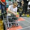 Oakmont Regional High School robtics student David Bedard sets up his robot during the May 19, 2016 VEX Robotics competition at Oakmont Regional High School in Ashburnham. SENTIENL & ENTERPRISE/JOHN LOVE