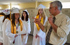 Class President Skylar Alves gets some last minute instructions for the Oakmont Class of 2016's march into the gym for Commencement. SENTINEL&ENTERRPISE/ Jim Marabello