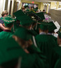 Seniors of the Oakmont Class of 2016 march down a hallway to the gym for the Commencement exercise that was forced indoors. SENTINEL&ENTERPRISE/ Jim Marabello