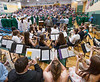 Music Director Kris S. DeMoura directs the Oakmont Concert Band in Pomp & Circumstance as Seniors of the Oakmont Class of 2016 march into gym for the Commencement exercise that was forced indoors. SENTINEL&ENTERPRISE/ Jim Marabello