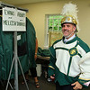 Secretary of Education Matthew Malone tried on an Oakmont High School marching band uniform when he visited their band camp at Camp Winnekeag Youth Camp in Ashburnham on Tuesday afternoon.  SENTINEL & ENTERPRISE/JOHN LOVE