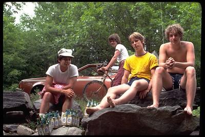 Mike, Jimmy, Mark, Tom at Redrocks (Moonhaw Rd)
