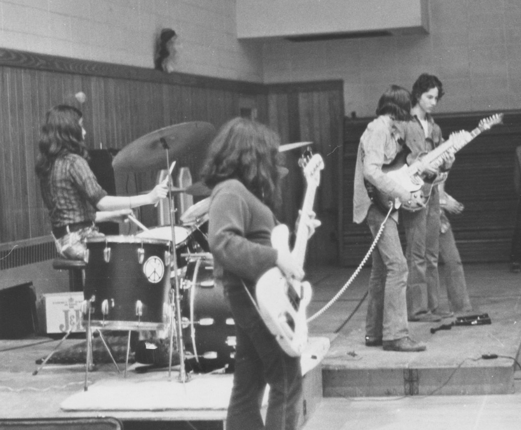 The Golden Mushroom, May 1973 at Onteora High School (L to R: LeeJ, Shep, Tommy, Greg)