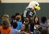 """Bob Raines--Montgomery Media / Eagles mascot """"Swoop"""" comes to an autism awareness assembly at Inglewood Elementary School  May 22, 2015."""