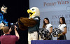 """Bob Raines--Montgomery Media / Students doing the autism awareness project at Inglewood Elementary School get a visit from the Eagles mascot """"Swoop"""" and two of the Eagles cheerleaders  May 22, 2015."""