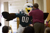 """Bob Raines--Montgomery Media / Eagles mascot """"Swoop"""" clowns for the video camera during an autism awareness assembly at Inglewood Elementary School  May 22, 2015."""