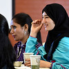 Kayla Rice/Reformer<br /> Tabassum Naz, an english language teacher from Peshawar, Pakistan smiles while listening to Vermont state representatives speak after a visit to Leland & Grey middle/high school on June 5th.